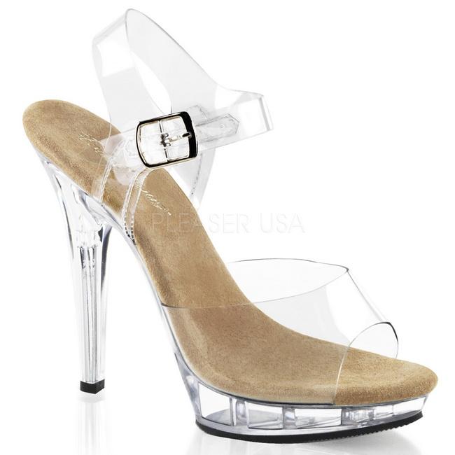 zapatos de separación 74a72 b6c2d Beige Transparente 13 cm LIP-108 Zapatos Tacón Aguja Plataforma
