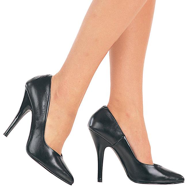 Black Leather 13 cm SEDUCE-420 Women Pumps Shoes Flat Heels ...