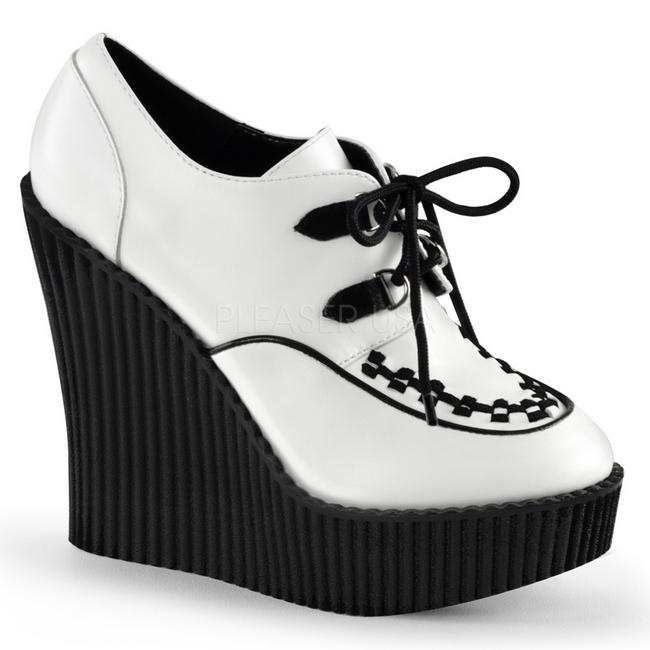 Creeper Polipiel Mujer Cuñas Blanco 302 De Creepers Zapatos 9ED2IH