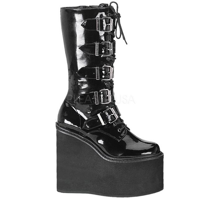 e845e7a6b Charol 14 cm SWING-220 plataforma botas de mujer con hebillas