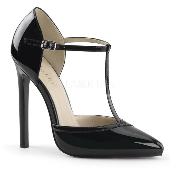 Stiletto Zapatos Aguja 27 De Negro 13 Cm Charol Sexy Tacón 34A5LqRjc