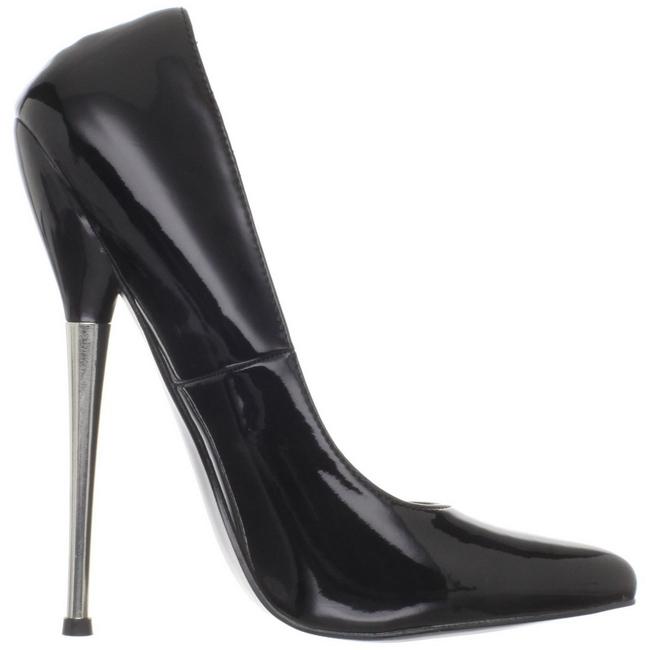 Negro Charol 16 cm DAGGER-01 Stiletto Zapatos Tacón de Aguja 56de2f09bf85