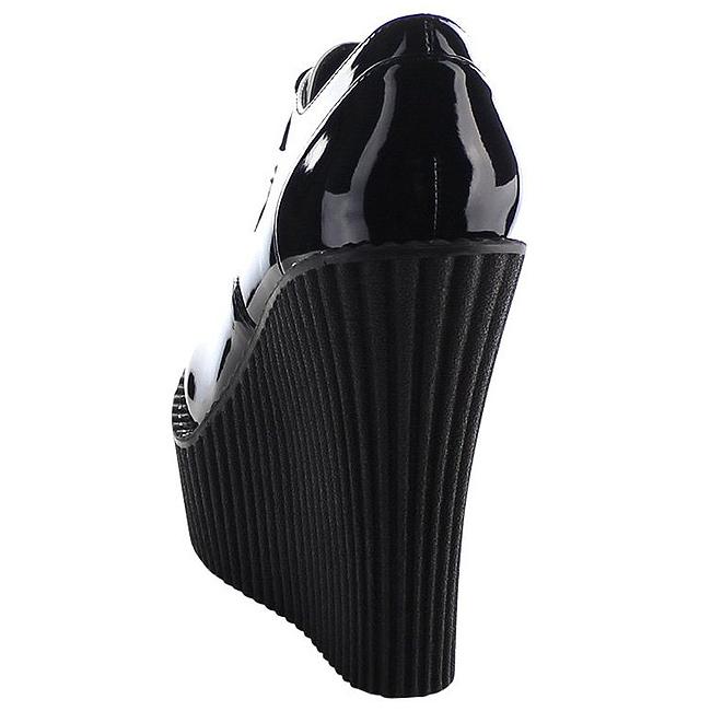 02b54b6528c29 Negro Charol CREEPER-302 zapatos de cuñas creepers mujer
