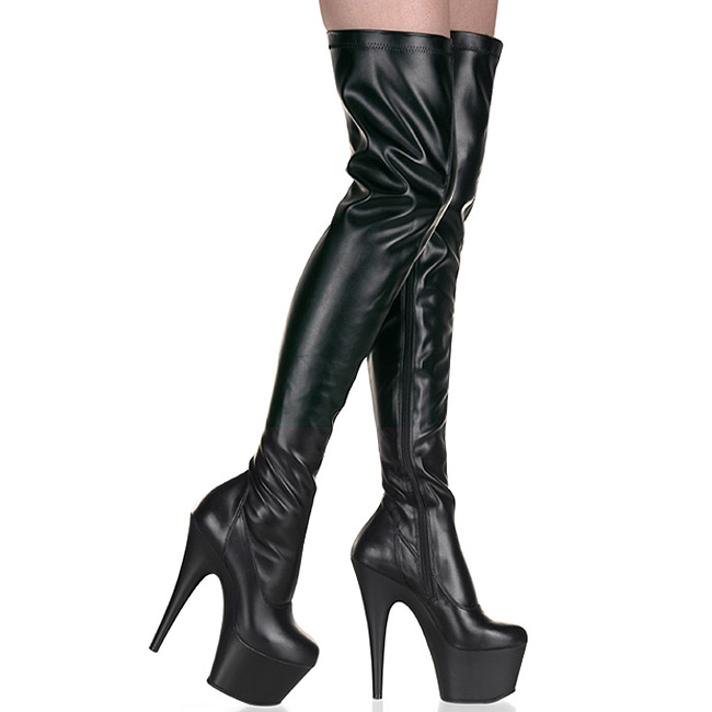 Código promocional en venta en línea cupón de descuento Negro Mate 18 cm ADORE-3000 Largas Botas Altas Del Muslo