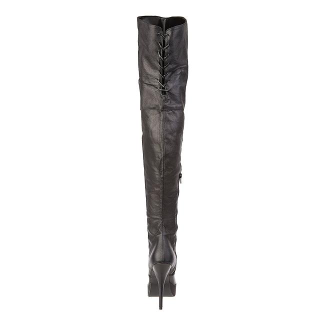 Negro Piel 13,5 cm INDULGE 3011 Largas Botas Altas para Hombres