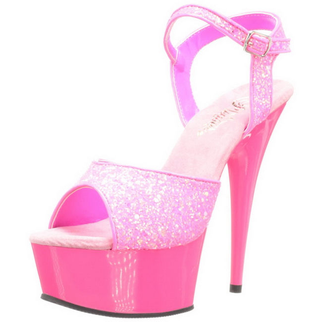 Pink Neon 15 cm Pleaser DELIGHT-609UVG Platform High Heels .