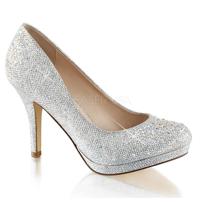 a7f945227747d Plata Piedras Cristal 9 cm COVET-02 Zapatos Salón Fiesta con Tacón
