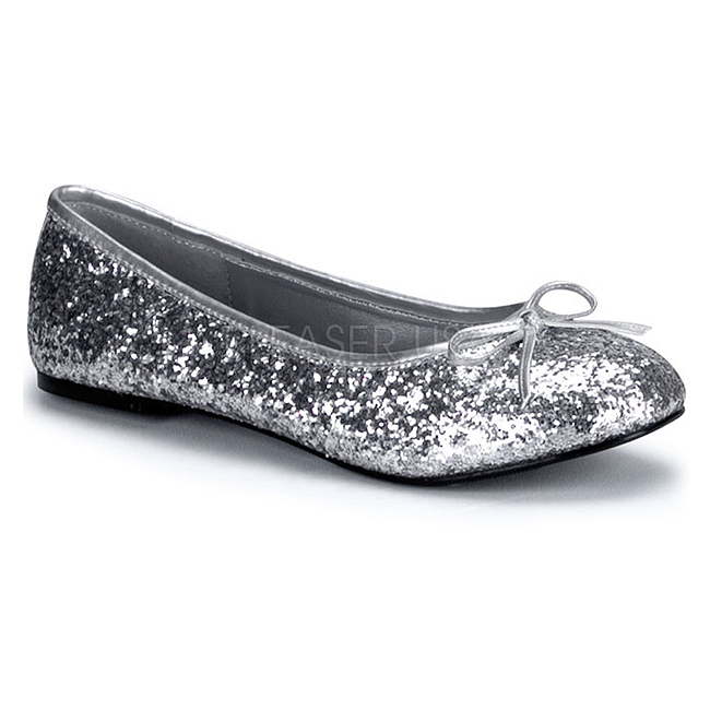 16g Plata Planos Brillo De Bailarinas Star Zapatos Mujer HrE50Prqx