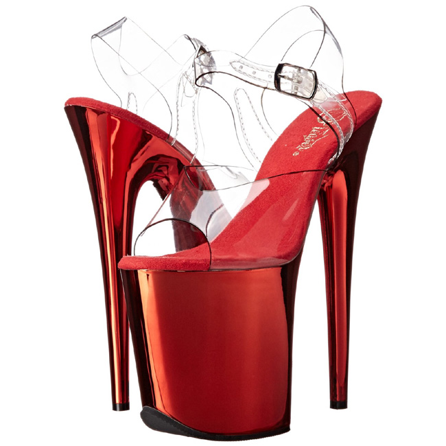 Red 20 cm FLAMINGO-808 Chrome Platform High Heels - comprar en línea