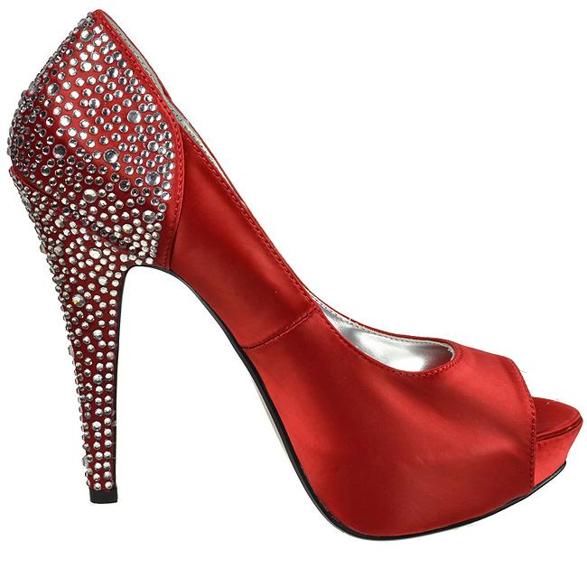 fábrica auténtica tan baratas la venta de zapatos Rojo Strass 13 cm LOLITA-08 Zapato Salón de Noche con Tacón