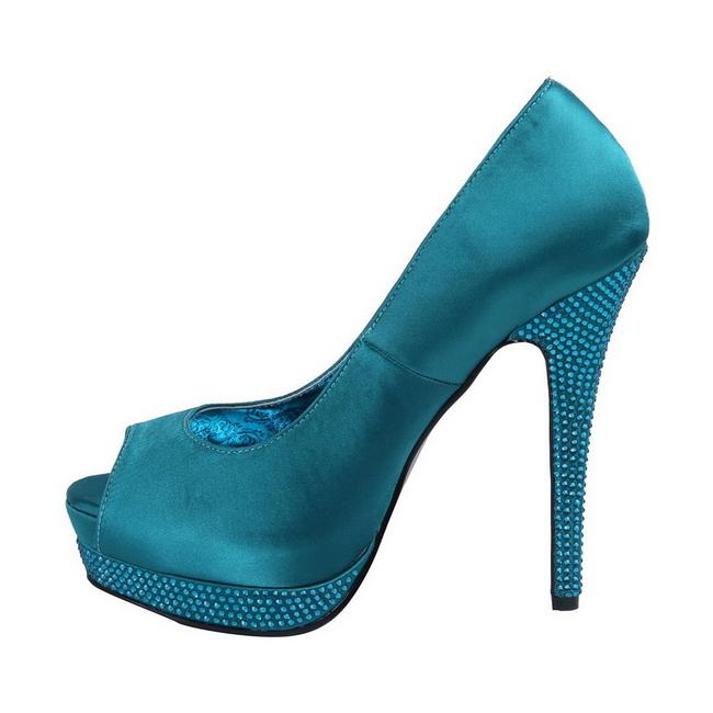 nueva colección gran venta el más nuevo Turquesa Satinado 13,5 cm BELLA-12R Strass Plataforma Zapato Salón
