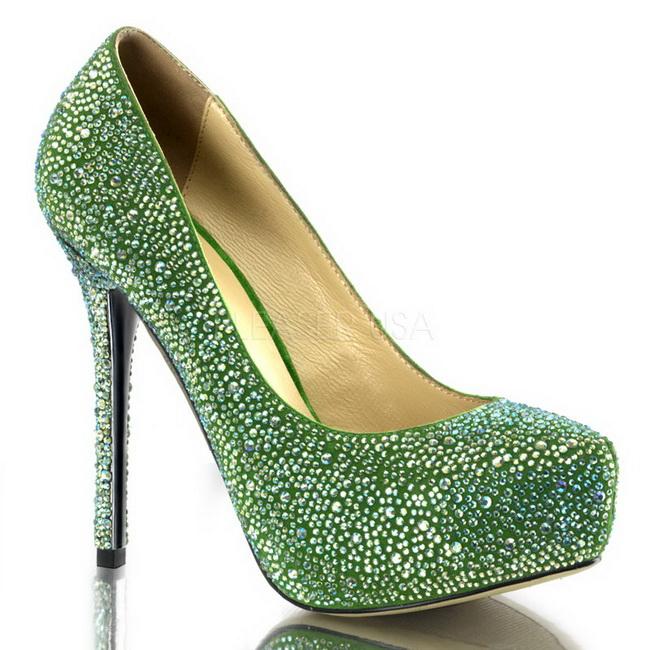 20 Plataforma Prestige Strass Salón Zapato Verde Piedras 13 Cm ZOiukXTP