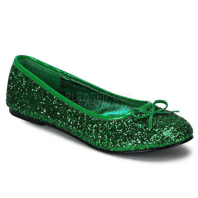 Mujer De Verde Zapatos Brillo 16g Planos Bailarinas Star rc7Wn7yfY