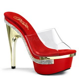 Transparent Red 15 cm Pleaser ROYAL-601 Mules Platform
