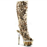 Gold Sequins 16 cm Pleaser SPIKY-2019 Platform Knee Boots