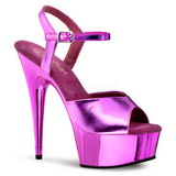 Fuchsia 15 cm Pleaser DELIGHT-609 Chrome Platform High Heel