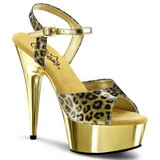 Gold Cheetah 15 cm DELIGHT-609CP Chrome Platform Sandals