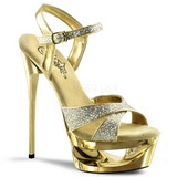 Gold Glitter 16,5 cm Pleaser ECLIPSE-619G Platform Stiletto High Heels