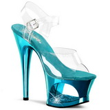 Turquoise Transparent 18 cm MOON-708DMCH High Heels Platform