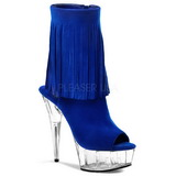 Blue Suede 15 cm Pleaser DELIGHT-1019 Platform Ankle Calf Boots