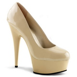 Beige Shiny 15 cm Pleaser DELIGHT-685 Platform Pumps
