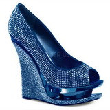 Blue Rhinestone 14 cm RAZZLE-660RS Platform Wedge Pumps Heels