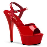 Rojo Charol 15 cm Pleaser KISS-209 Tacones Altos Plataforma