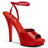 Red Shiny 13 cm Pleaser LIP-125 High Heels Platform