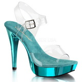Turquoise Clear 13 cm COCKTAIL-508 Platform High Heeled Sandal