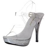 Plata Strass 12 cm ELEGANT-408 Plataforma Zapatos Tacón Alto