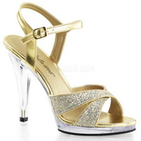 Gold Glitter 12 cm FLAIR-419G Womens High Heel Sandals