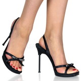 Black Satin 12 cm CHIC-38 Womens High Heels Sandals