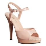 Beige Shiny 13 cm Pleaser LIP-109 High Heels Platform
