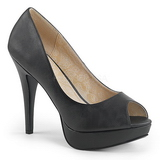 Negro Polipiel 13,5 cm CHLOE-01 zapatos de salón tallas grandes