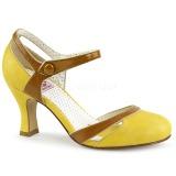 Amarillo 7,5 cm retro vintage FLAPPER-27 Pinup zapatos de salón tacón bajo