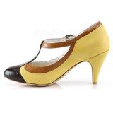 Amarillo 8 cm PEACH-03 Pinup zapatos de salón tacón bajo