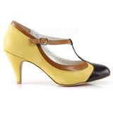 Amarillo 8 cm retro vintage PEACH-03 Pinup zapatos de salón tacón bajo