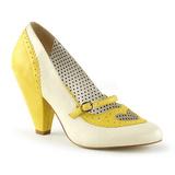 Amarillo 9,5 cm POPPY-18 Pinup zapatos de salón tacón bajo