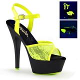 Amarillo Tela de Encaje 15 cm KISS-209ML Sandalias Mujer Plataforma Neon