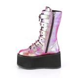 Arco iris 9 cm DAMNED-225 plataforma botas de mujer con hebillas