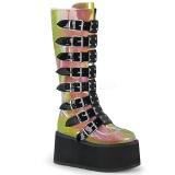 Arco iris 9 cm DAMNED-318 plataforma botas de mujer con hebillas