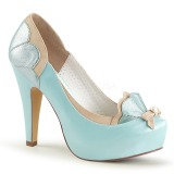 Azul 11,5 cm retro vintage BETTIE-20 Pinup zapatos de salón con plataforma escondida
