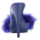 Azul 13 cm POISE-501F Tacón plumas de marabu Mules Calzado