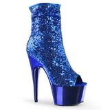 Azul 18 cm ADORE-1008SQ botines con lentejuelas de mujer