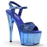 Azul 18 cm ADORE-710GT brillo plataforma sandalias de tacón alto