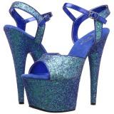 Azul 18 cm ADORE-710LG brillo plataforma sandalias de tacón alto