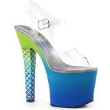 Azul 18 cm ARIEL-708OMBRE Acrilico plataforma sandalias de tacón alto