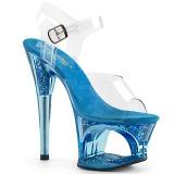 Azul 18 cm MOON-708GFT brillo plataforma sandalias de tacón alto