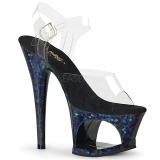 Azul 18 cm MOON-708HSP Holograma plataforma sandalias de tacón alto