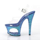 Azul 18 cm MOON-708LG brillo plataforma sandalias de tacón alto